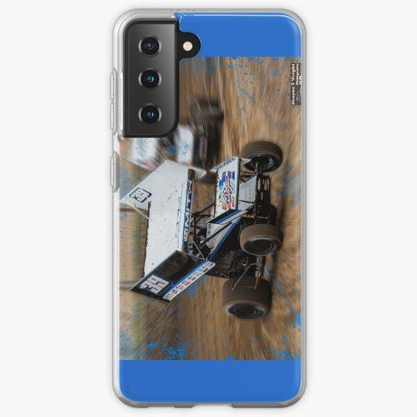 Bright blue sprint car powers out on 3 wheels Samsung Galaxy Soft Case
