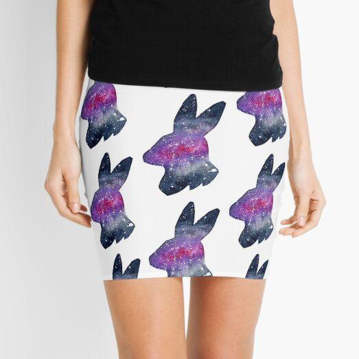 Galactic Watercolor Bunny Rabbit Silhouette Mini Skirt