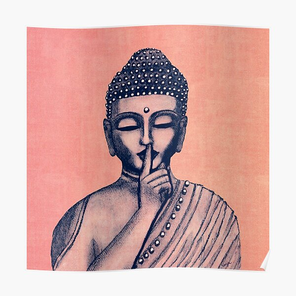 Buddha Shh... Do not disturb in Coral Poster