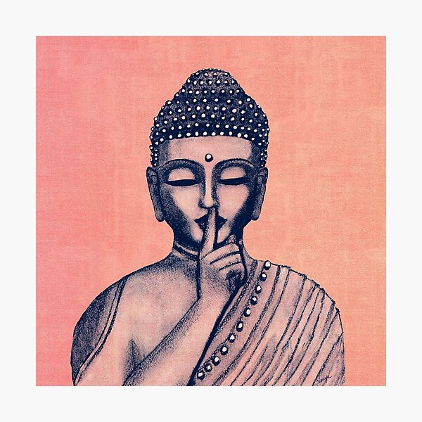 Buddha Shh... Do not disturb in Coral Photographic Print