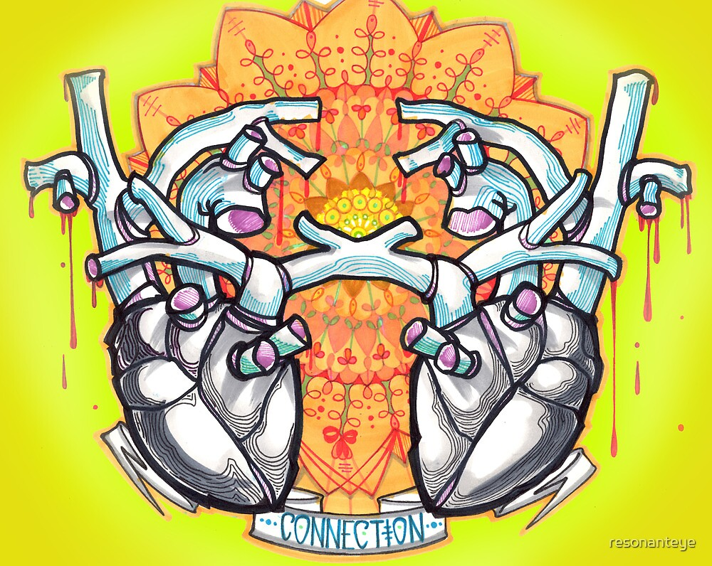 two hearts, psychedelic whovian tattoo art by resonanteye