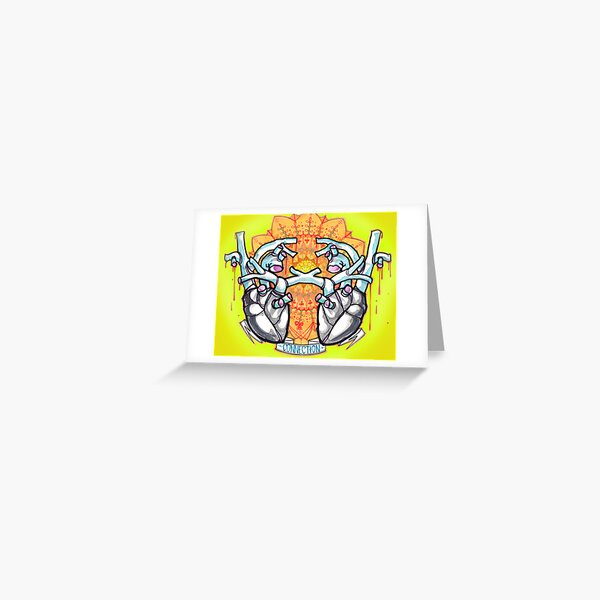 two hearts, psychedelic whovian tattoo art Greeting Card
