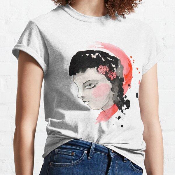 Blushing Watercolor Girl Classic T-Shirt