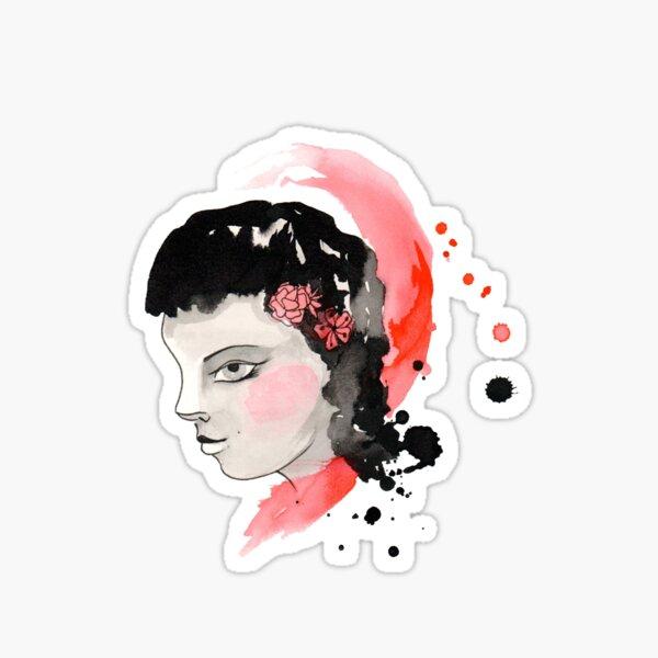 Blushing Watercolor Girl Sticker
