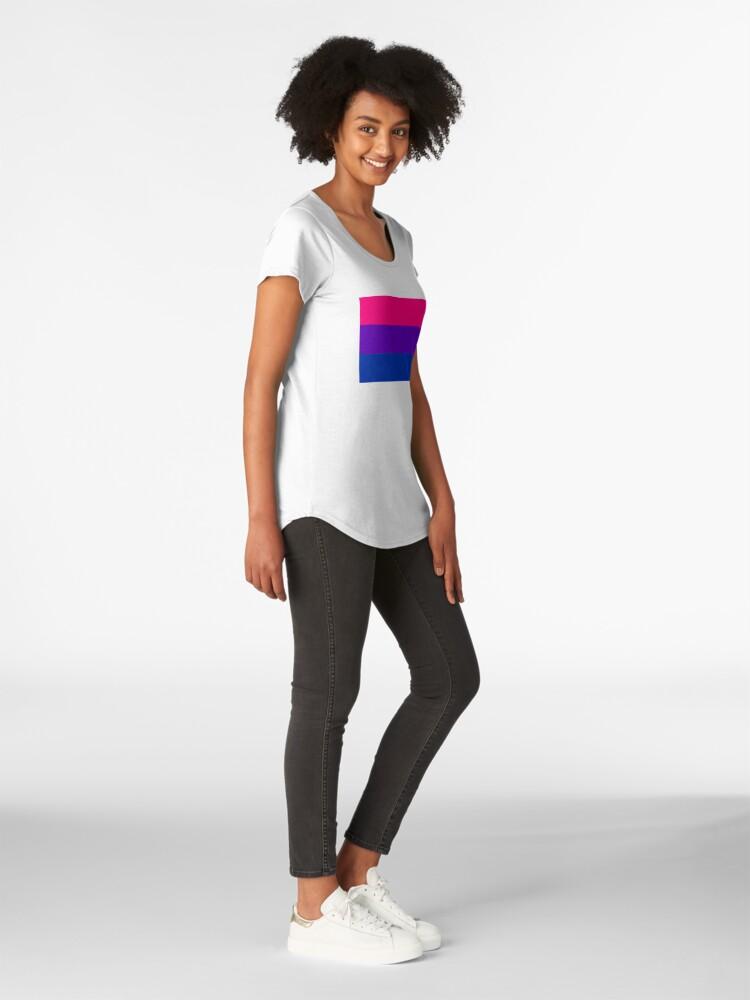 Alternate view of Solid Bisexual Pride Flag Premium Scoop T-Shirt
