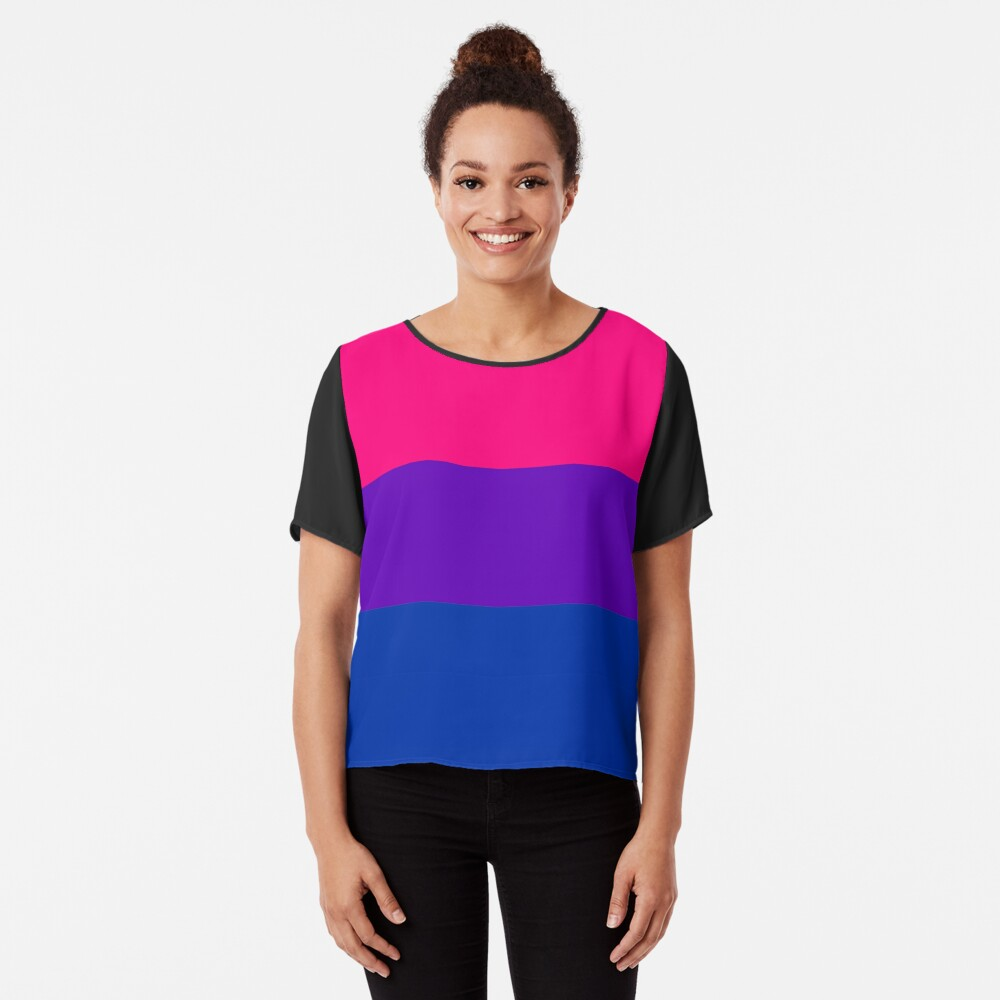 Solid Bisexual Pride Flag Chiffon Top