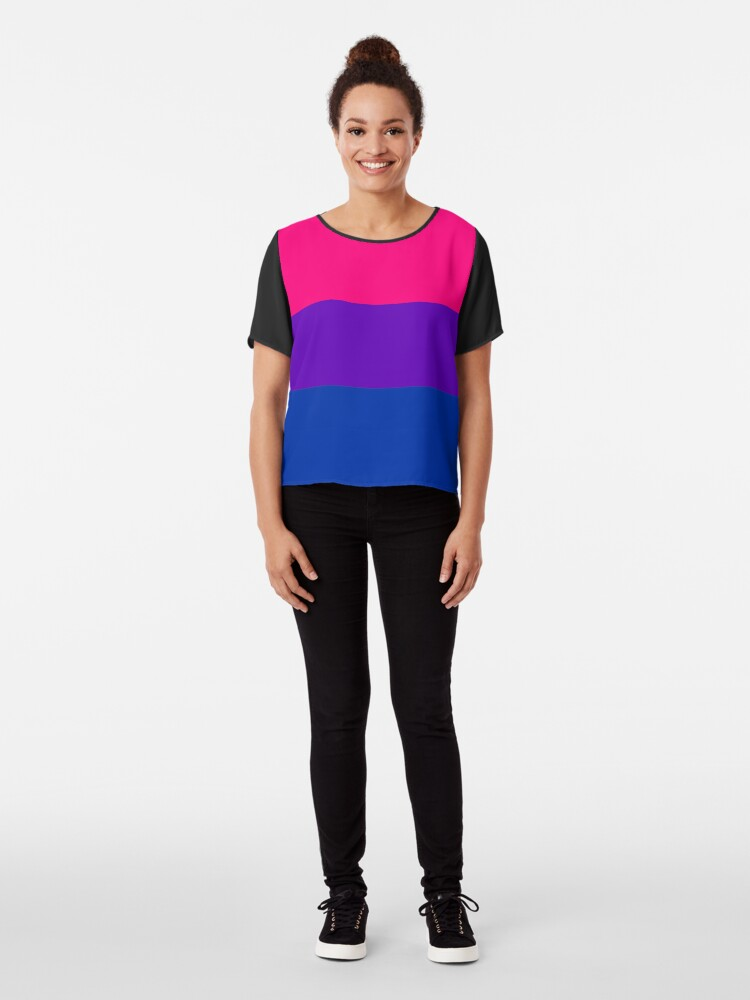 Alternate view of Solid Bisexual Pride Flag Chiffon Top