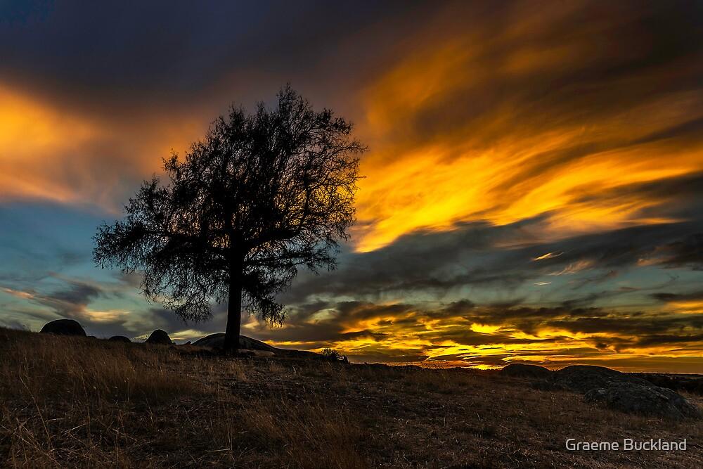 Flaming - Dog Rocks Batesford Victoria by Graeme Buckland