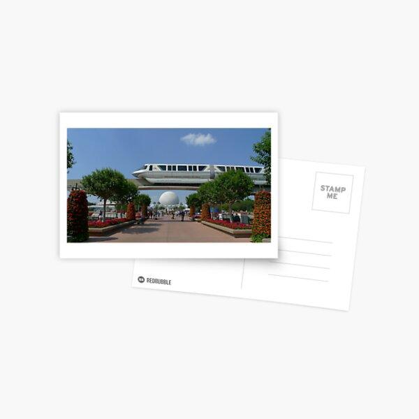 Spaceship Earth & Monorail - Epcot Postcard