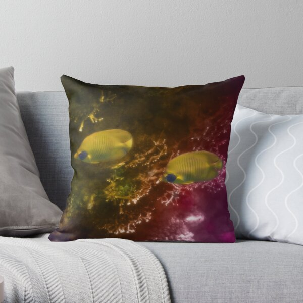 The Lovely Masked Butterflyfish In The Red Sea Throw Pillow