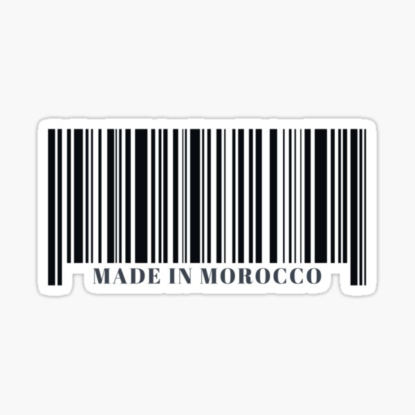 Fabriqué au Maroc Black Barcode Sticker