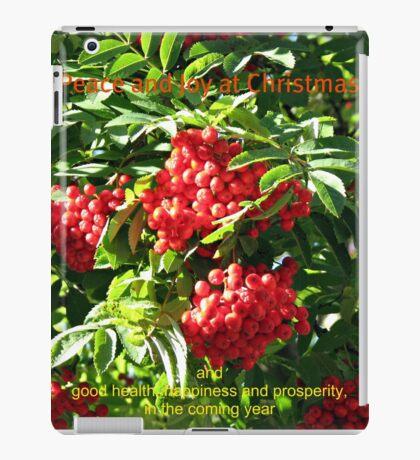 Red Rowan Berries Christmas Card iPad-Hülle & Klebefolie
