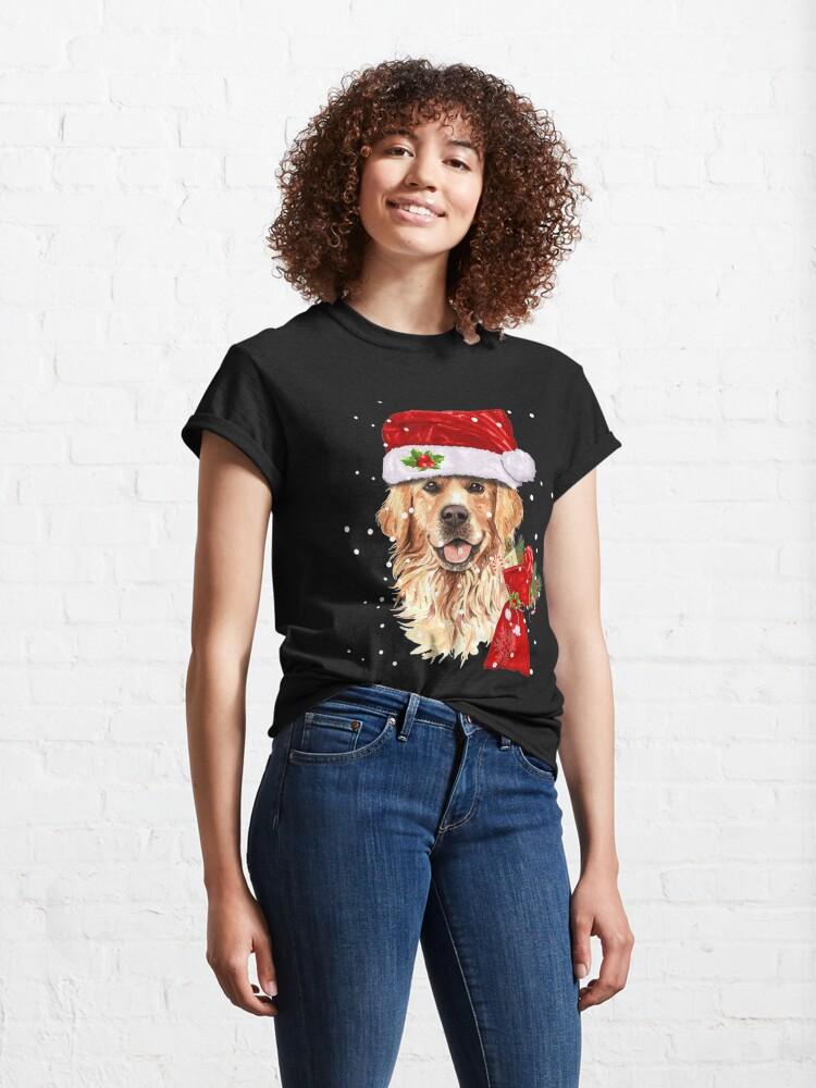 Alternate view of Golden Retriever Dog Christmas Holiday Gift  Classic T-Shirt