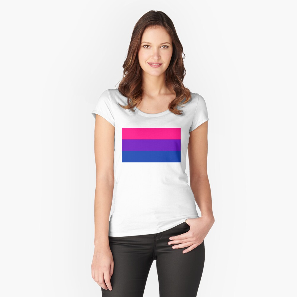 Solid Bisexual Pride Flag Fitted Scoop T-Shirt