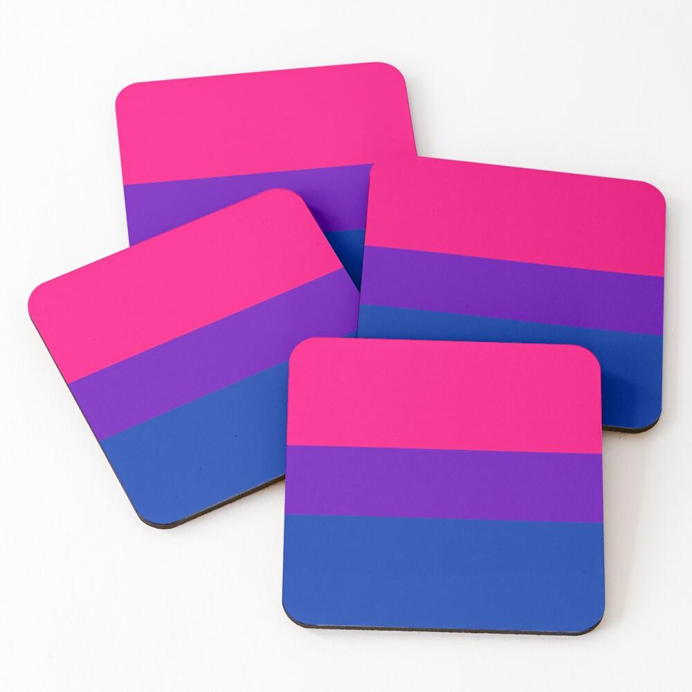 Solid Bisexual Pride Flag Coasters (Set of 4)