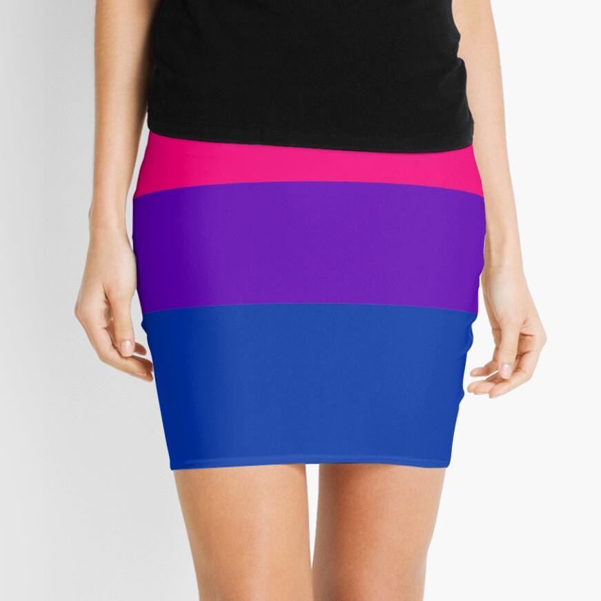 Solid Bisexual Pride Flag Mini Skirt
