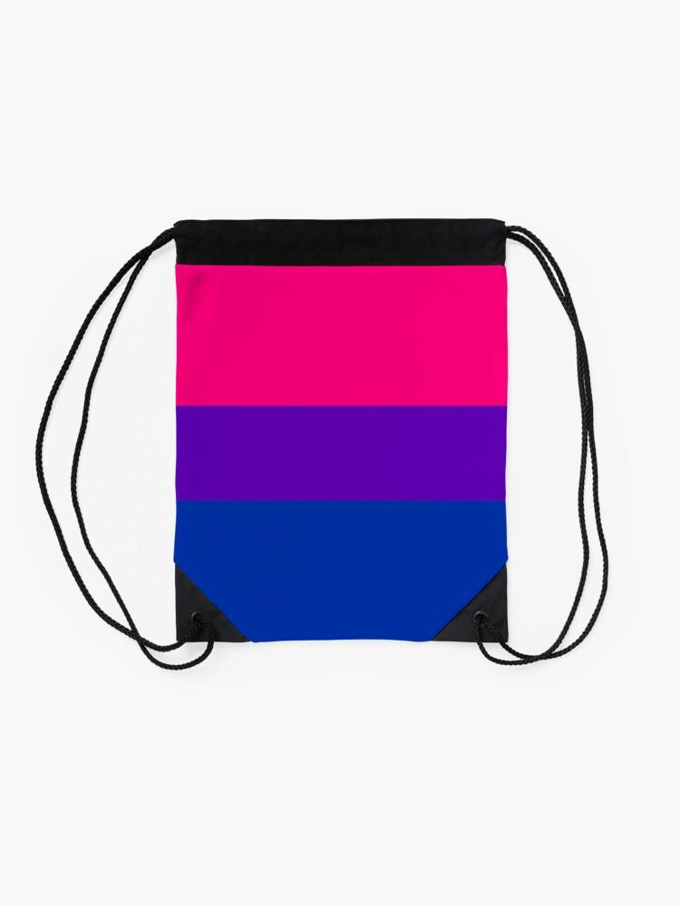 Alternate view of Solid Bisexual Pride Flag Drawstring Bag