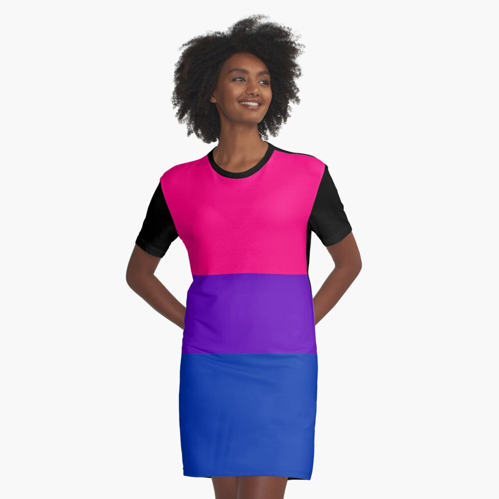Solid Bisexual Pride Flag Graphic T-Shirt Dress