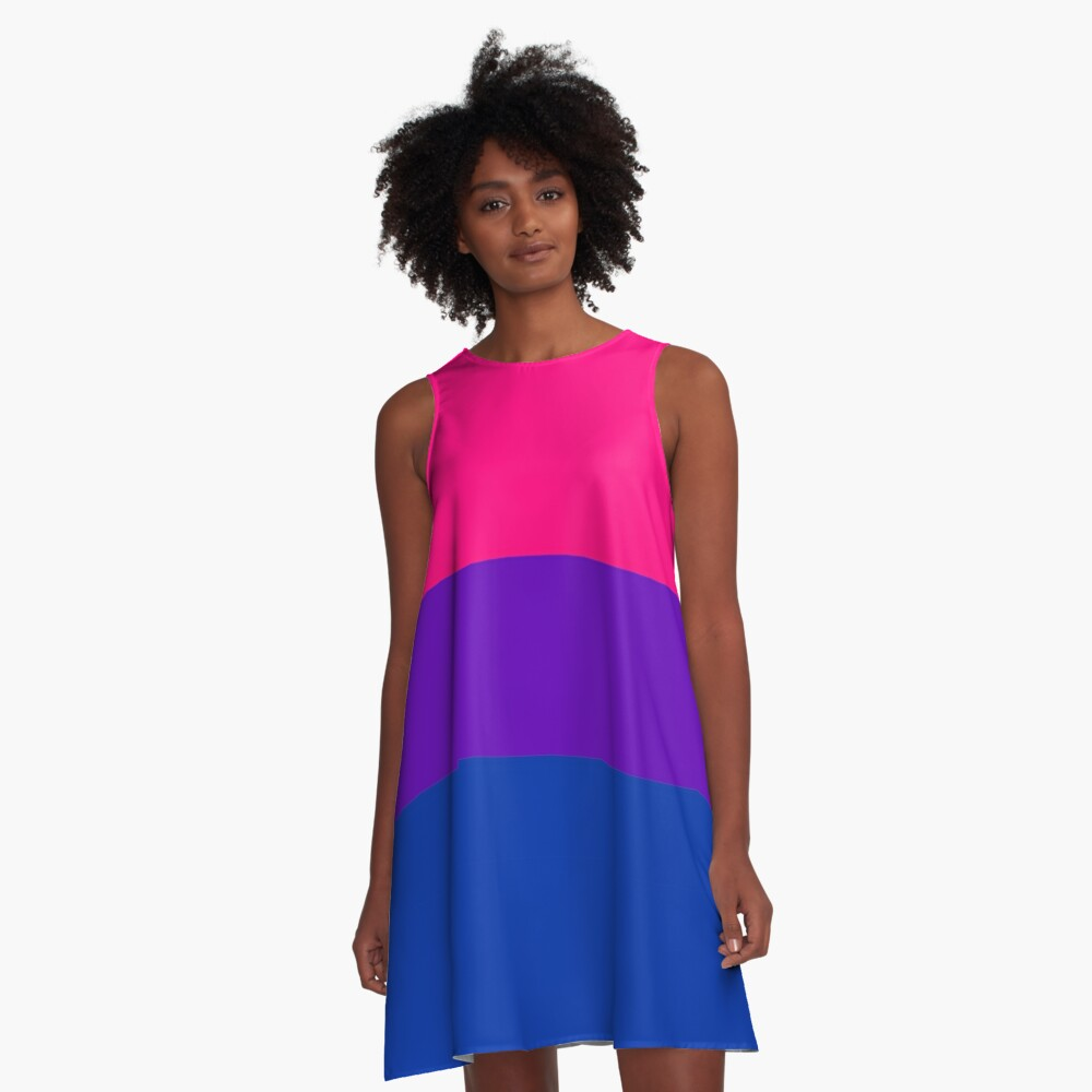 Solid Bisexual Pride Flag A-Line Dress
