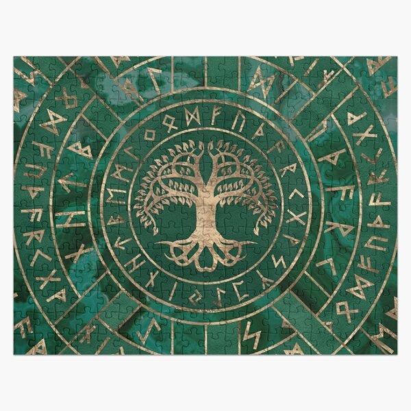 Tree of life -Yggdrasil and Futhark - Malachite Jigsaw Puzzle