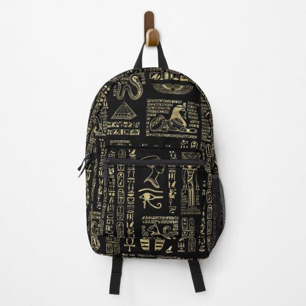 Egyptian hieroglyphs and deities gold on black  Backpack