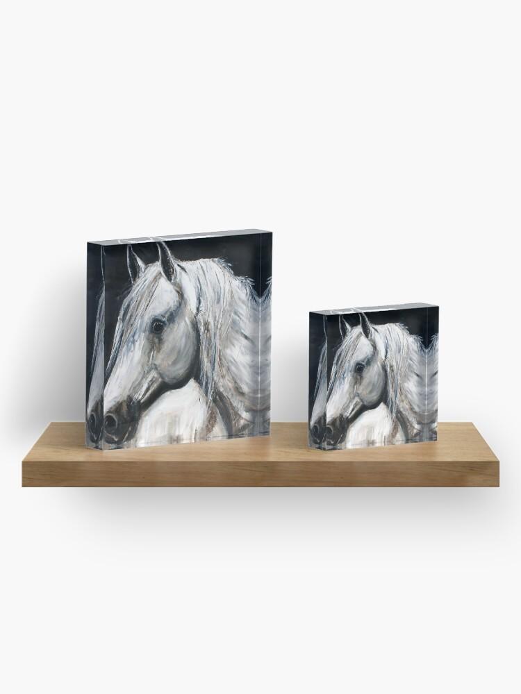 Alternate view of White Horse Acrylic Block