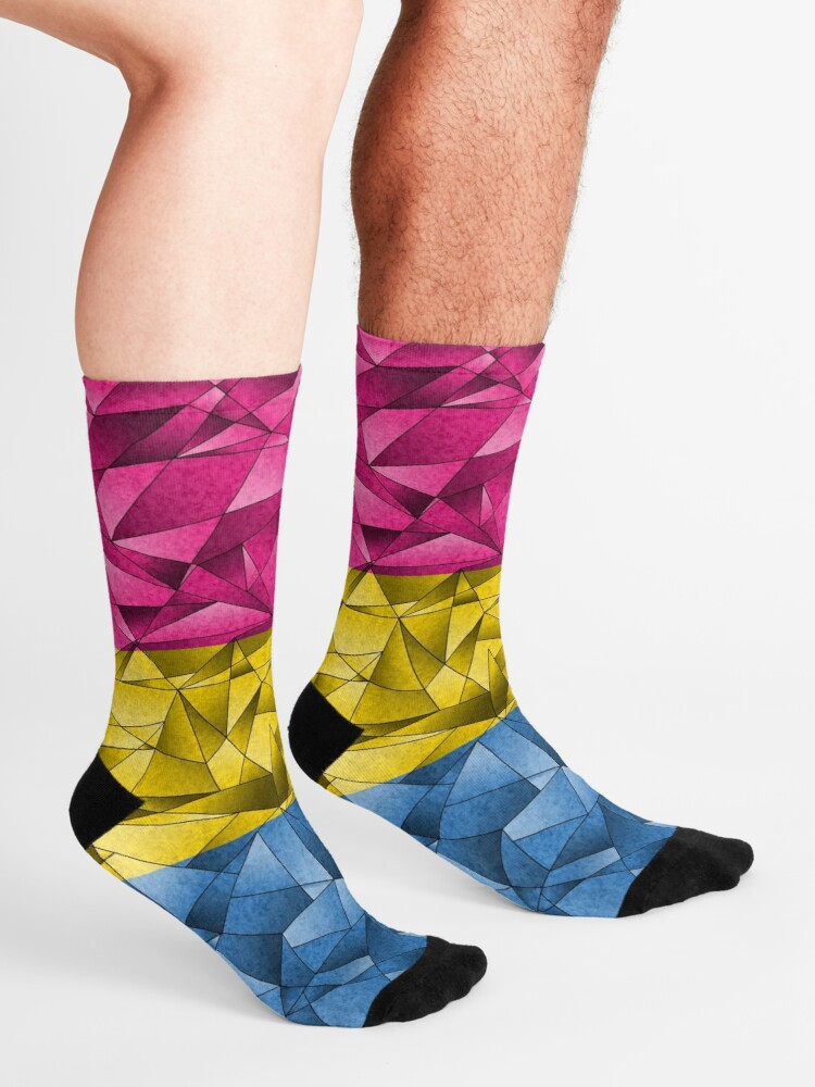 Alternate view of Abstract Pansexual Flag Socks