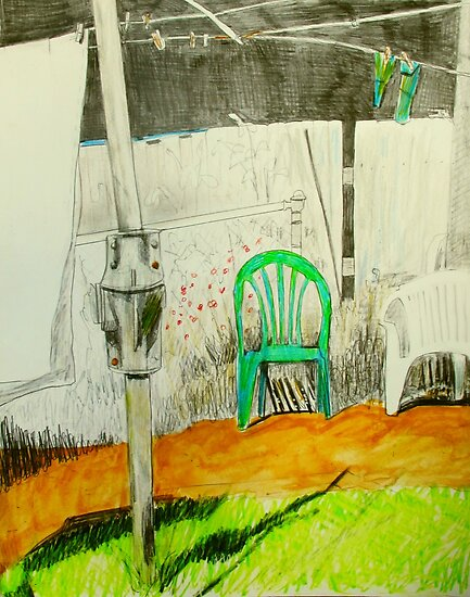 wash day with green and white plastic chairs by donna malone