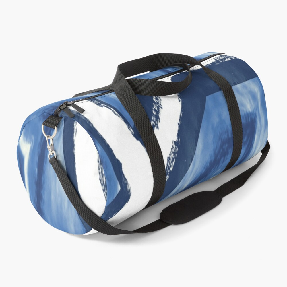 Blue and white abstract art Duffle Bag