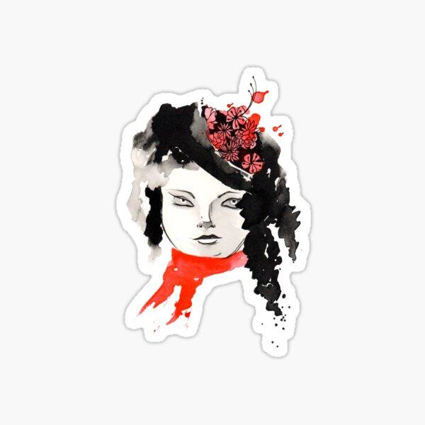 Winter Watercolor Girl Sticker