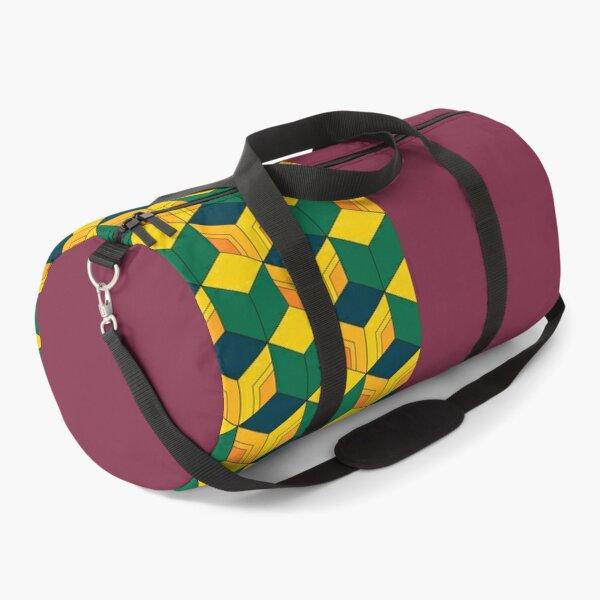 Giyu's Half Solid Half Geometric Traditional Japanese Kimono Pattern Duffle Bag