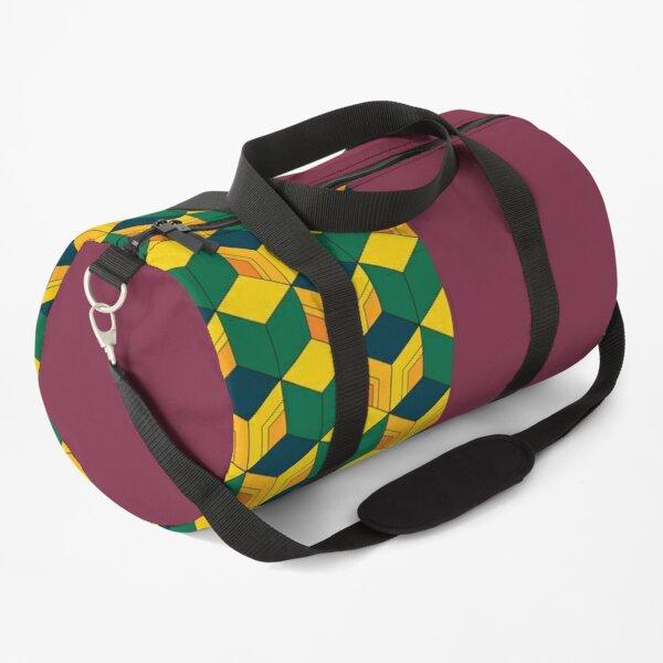 Traditional Japanese Geometric Kimono pattern, Half-Solid Half-Geometric Pattern, Japanese Haori Pattern Duffle Bag