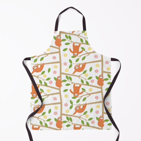 Cute Sloth and Flower Apron