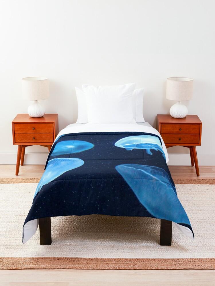 Alternate view of Swimming Jellyfish  Comforter