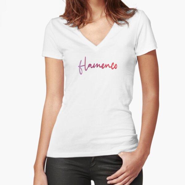 Flamenco Blended Lettering  Fitted V-Neck T-Shirt