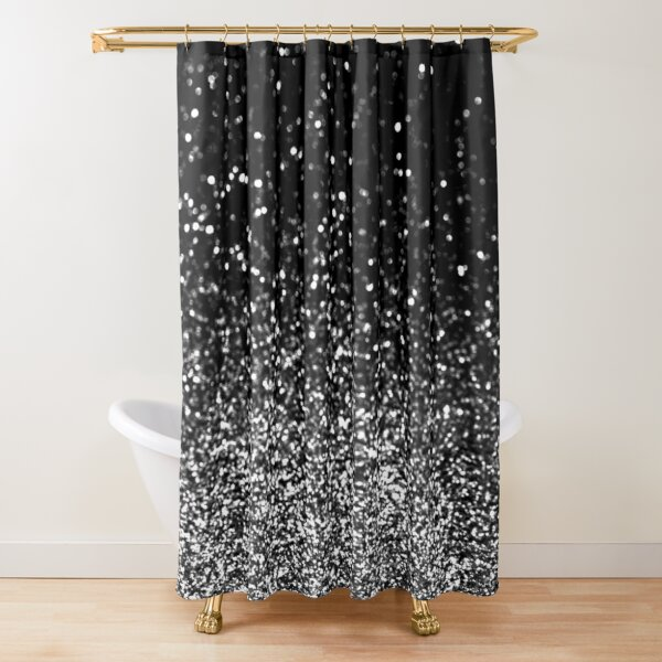 Silver and Black Glitter Shower Curtain