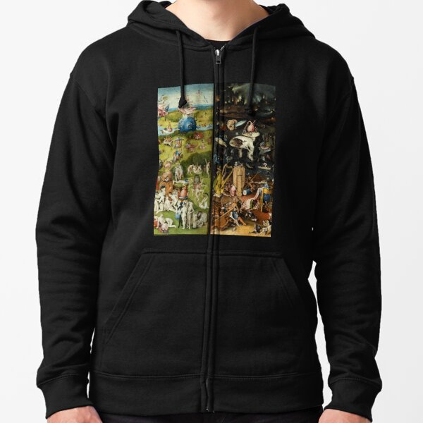 Garden of Earthly Delights , Paradise and Hell by Hieronymus Bosch Zipped Hoodie