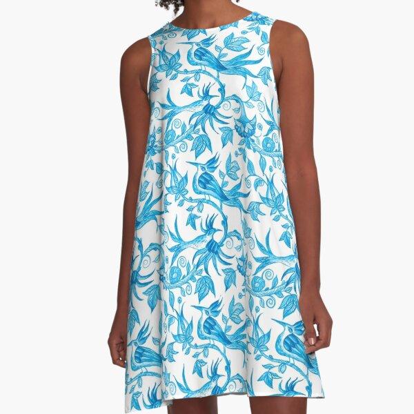 Feeling blue-Birds  A-Line Dress