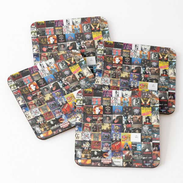 Rock Vinyl Collage  Coasters (Set of 4)