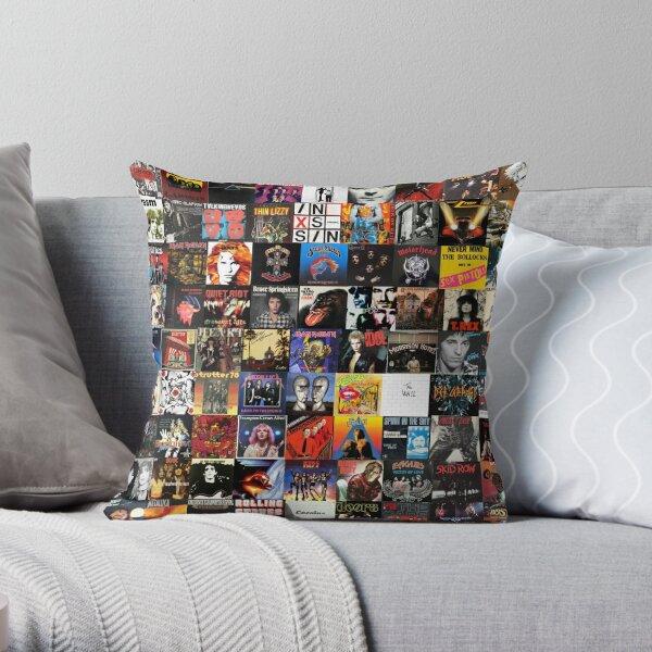 Rock Vinyl Collage  Throw Pillow