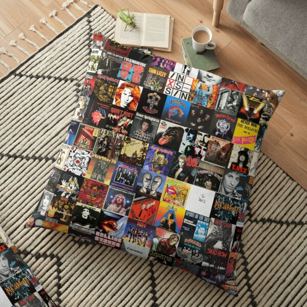 Rock Vinyl Collage  Floor Pillow
