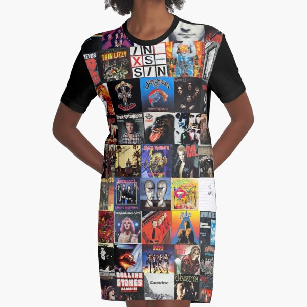 Rock Vinyl Collage  Graphic T-Shirt Dress