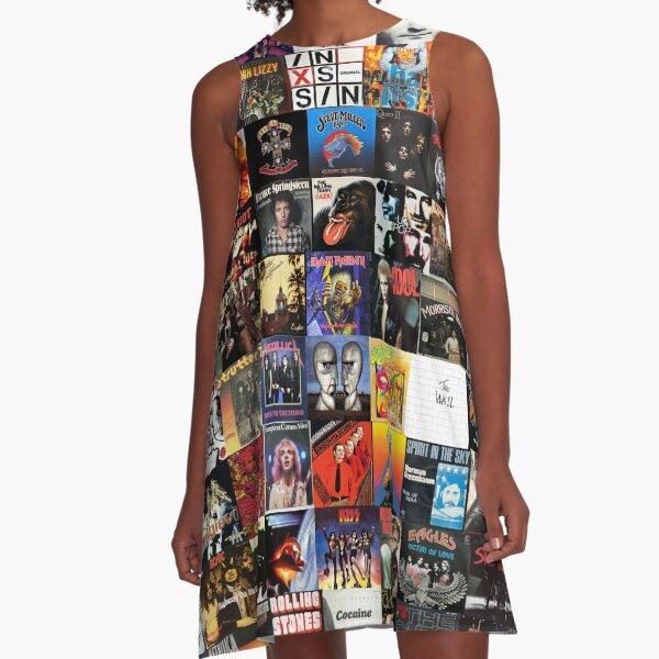 Rock Vinyl Collage  A-Line Dress
