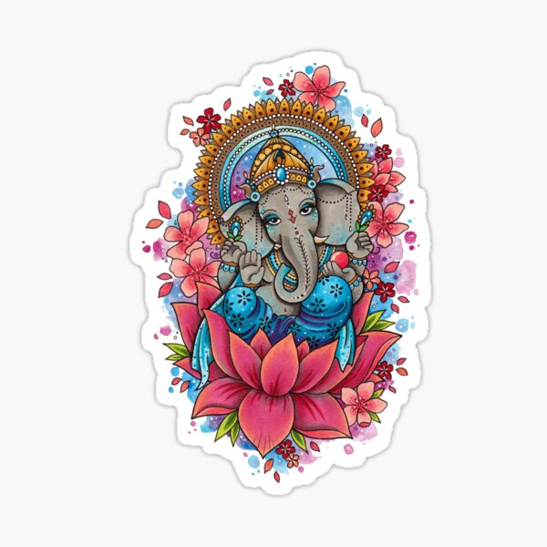 Elephant and Flowers Sticker
