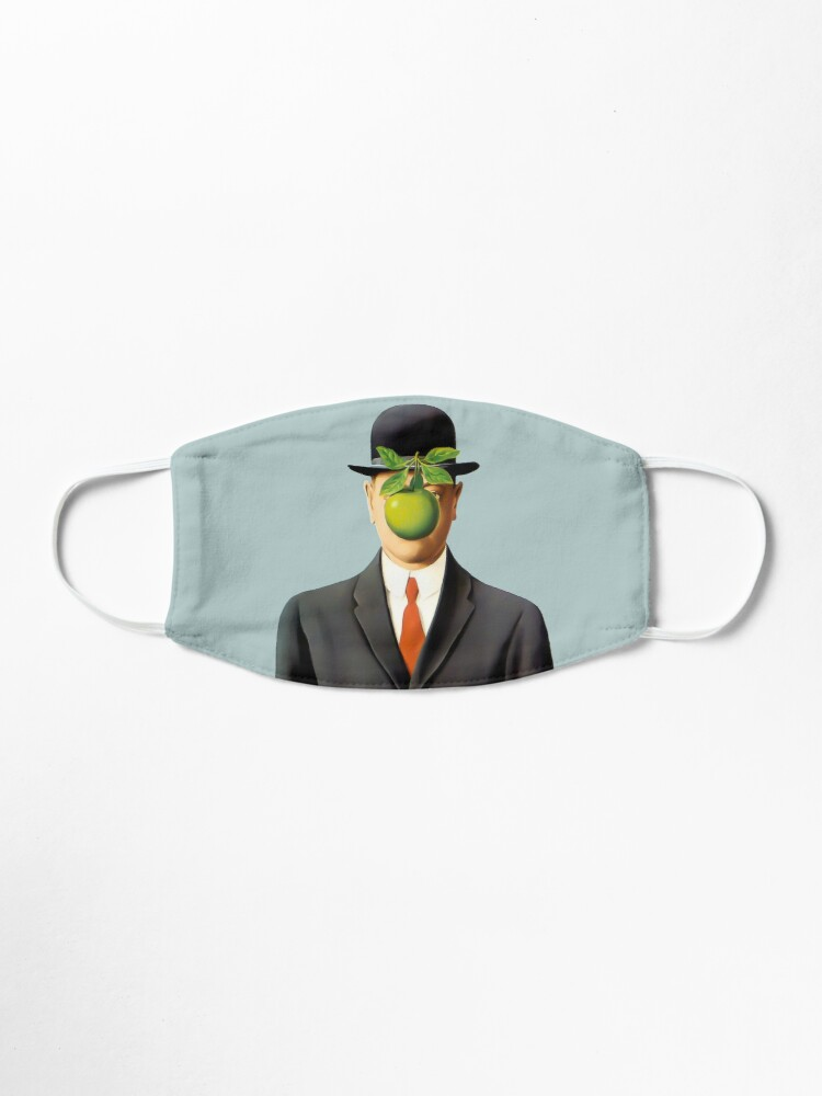 Alternate view of Rene Magritte The Son of Man, 1964 Artwork, Tshirts, Posters, Prints, Bags, Men, Women, Youth Mask