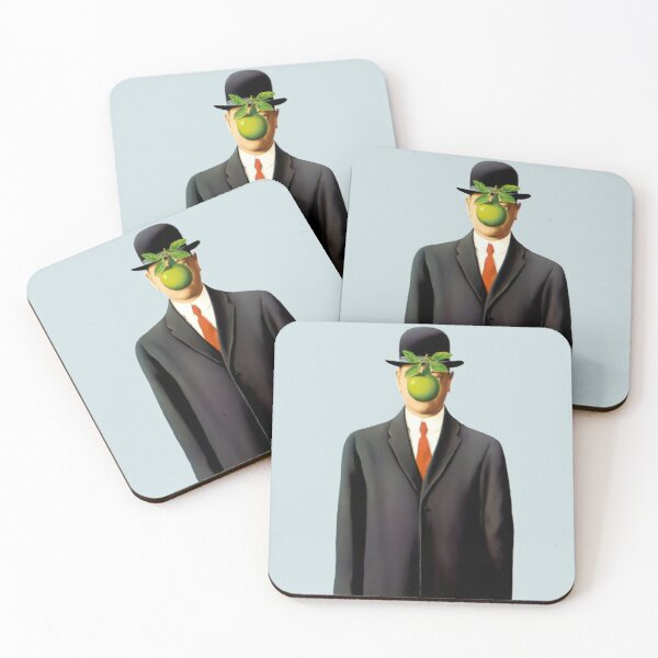 Rene Magritte The Son of Man, 1964 Artwork, Tshirts, Posters, Prints, Bags, Men, Women, Youth Coasters (Set of 4)