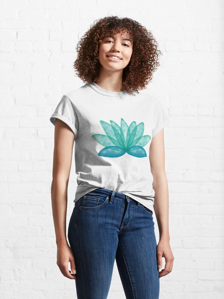 Alternate view of Calm Corner Lotus Floral Watercolor on rose marble Classic T-Shirt