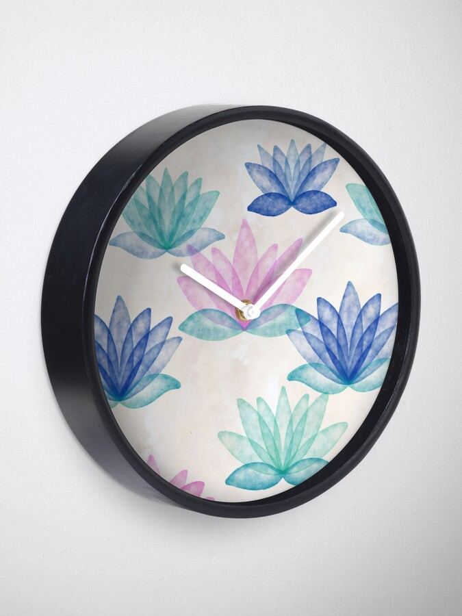 Alternate view of Calm Corner Lotus Floral Watercolor on rose marble Clock