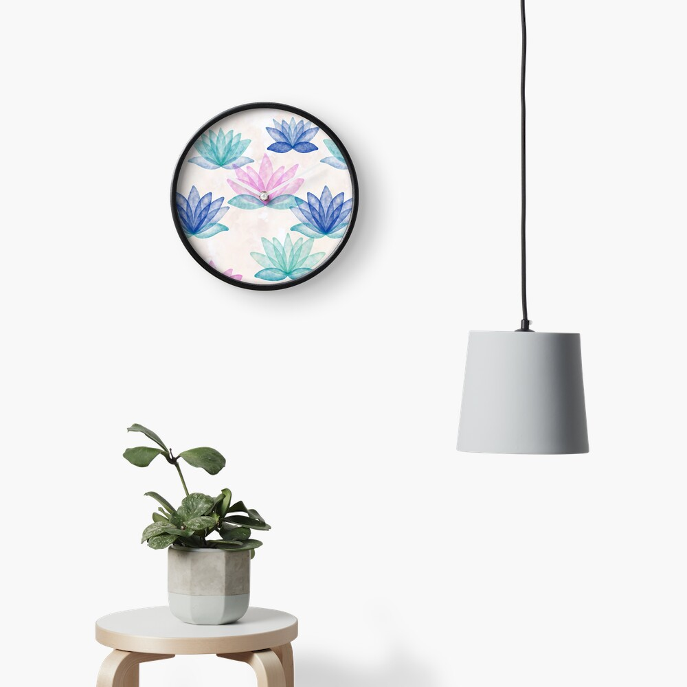 Calm Corner Lotus Floral Watercolor on rose marble Clock