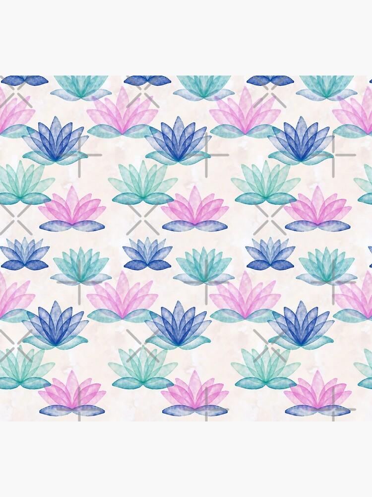 Calm Corner Lotus Floral Watercolor on rose marble by nobelbunt